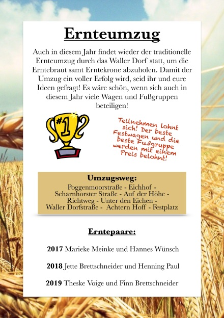 Erntefest 2018 Ernteumzug